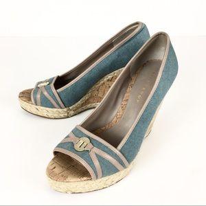 Ivanka Trump Shoes - Ivanka Trump Wedges Heels Shoes Blue Tan Size 10
